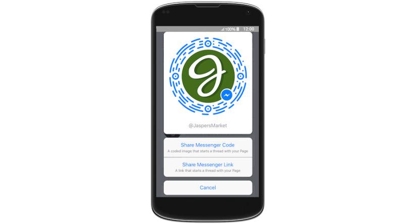 Le code Messenger permettra d'entrer en contact avec une marque