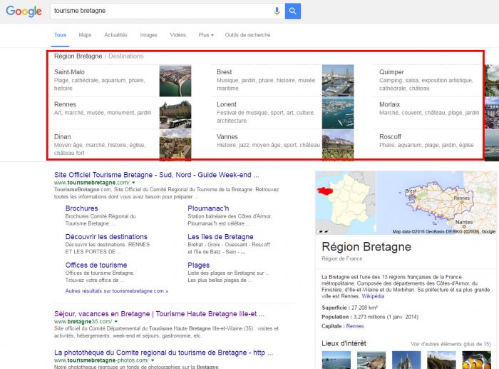 Recherches associées de Google
